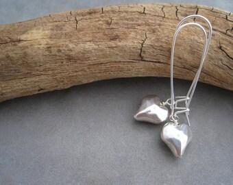 Silver Heart Earrings - Dangles - Romance -Love - Minimalist Style- Puffy Heart Charm
