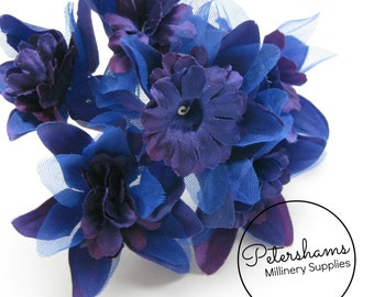 Vintage 1960's-80's Organza & Satin Millinery Flowers Bunch of 6 - Royal Blue and Purple