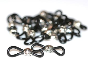 Ornate Designer Eyeglass Holders. Adjustable with Antique Silver Beads & Black Rubber Loops. Lots of 10 or 25.