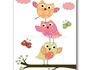 Owl Nursery Decor Art for Children Kids Wall Art Baby Girl Room Decor Baby Nursery Decor Baby Girl Nursery Print OWL Rose Yellow Green