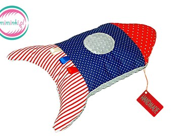 Rocket pillow, 70 cm, minky mascot rocket, rocket cushion,  mascot rocket, 70 cm large, ship rocket, space ship,