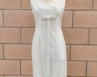 1950s/ 1960s Silver Wiggle Dress, Modern Size 4