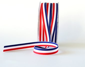 "Blue, White and Red Grosgrain Ribbon 3/8"" Wide Striped Ribbon French Flag Ribbon 5 Yards"