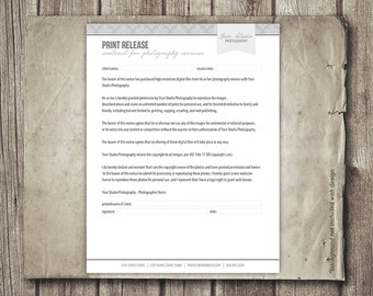 Print Release Form for Photographers - Photography Business Forms - Photographer Print Release Contract - INSTANT DOWNLOAD