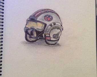 Star Wars Rebel Alliance Helmet drawing A4 Print