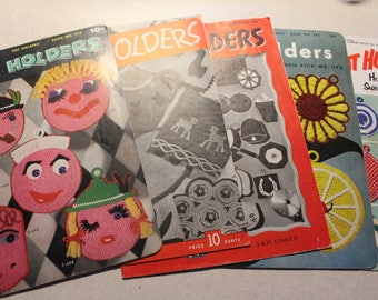Crocheted Pot Holders- Vintage Booklets- lot of 5