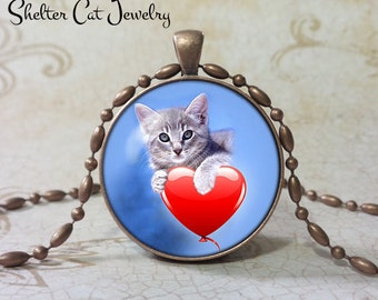 "Valentine Tabby Cat Necklace - 1-1/4"" Circle Pendant or Key Ring - Kitty on Heart on Blue Background - Holiday Present or Gift for Cat Lover"