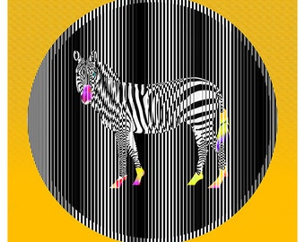 Zebra A5 illustration printed on Fine Art paper / Zebra illustration print on Fine Art paper