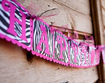 Zebra HAPPY BIRTHDAY Banner - Pink & Zebra Print Banner with cupcake - Woman's, Girls Birthday Party Decoration - Zebra Birthday party decor