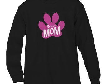 Rescue Mom Paw Pink Adoption Pets Rescue Animals Dogs Cats Shelter Men's Longsleeve Shirt SF_0038