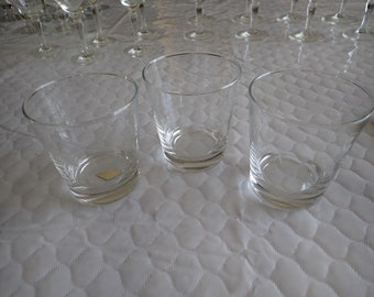 """3 Three) Radio Brand Fine Glasses Hand Crafted Japan Old Fashioned Glasses 3 3/8"""" Wheat Spray Blown Glass"""