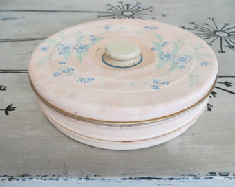 Dresser Box Tin Box Pink Tin Shabby Chic Decor Cottage Decor Bathroom Decor Vanity Set Vanity Box Tinket Box