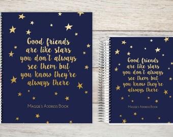 Address Book, Personalized Address Book, Contacts Book, Telephone and Address book, Custom Address Book - good friends