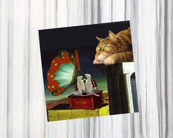 folded card with cats a bit surreal: my beautiful phonograph