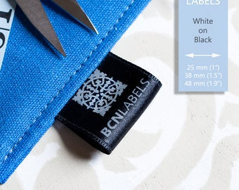150 pcs White on Black Custom Printed Soft Satin Clothing Labels / Care Labels / Sew in Labels