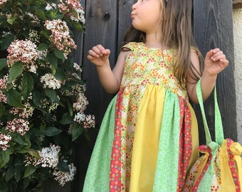 Cute spring/summer little girls dress w/sachet, yellow, green and orange little girl dress 4t; 4 toddler