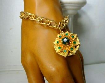 Green Rhinestone Charm on Gold Chain Bracelet, 1950s,  Shiny Goldtone Metal w St Patrick's Day Emerald Green Glass Rhinestone Flower Dangle