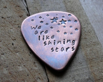 CUSTOM  GUITAR Pick-Shining Stars-Handstamped Copper-Great Gift for Fathers Day, Husband, Boyfriend, Dad, Groomsmen