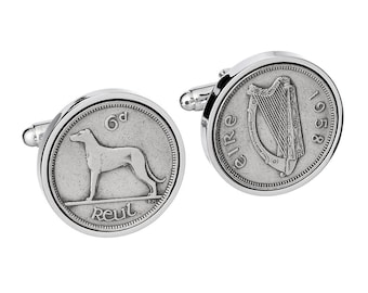 1958  Irish Gift - 60th Birthday Gift - Lucky Irish Coin Cufflinks -  Includes presentation box - 100% satisfaction -