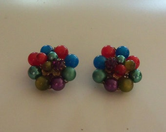 Mid-Century Cluster Earrings - Jewel Toned Metallic and Moonglow Lucite Beads