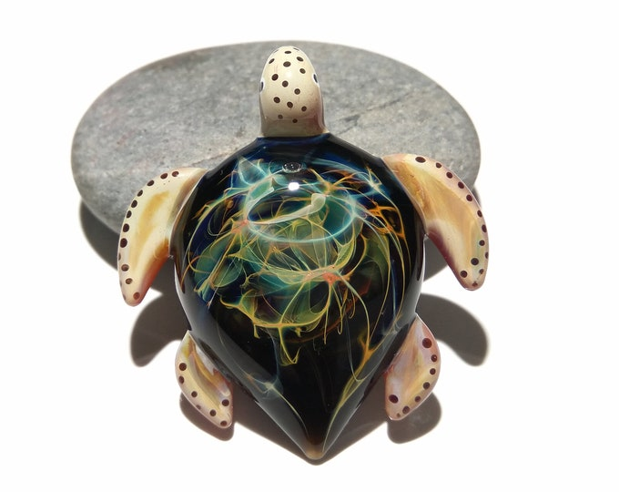 Rainbow Nebula, Glass Turtle Pendant. Collectors Gift - Turtle Figurine - Blown Glass Jewelry - Space, Neuron, Cosmic Galaxy Turtle