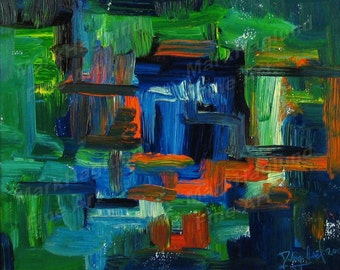 Digital Download Print Yourself - Abstract In Blue and Green
