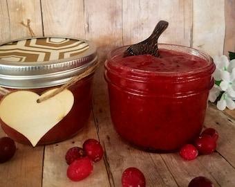 Organic fresh cranberry sugar scrub exfoliating scrub shower scrub. 8 oz