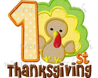 First Thanksgiving turkey applique machine embroidery design