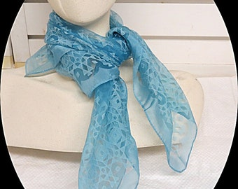 "Light Blue Paterned Sheer Chiffon Rockabilly Vintage Scarf 24"" X 25""  #010"