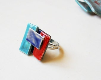 Blue and red, Ceramic ring