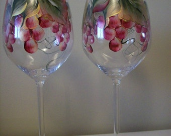 Hand Painted Burgundy Grapes Wine Glasses.  Beautiful Gift.