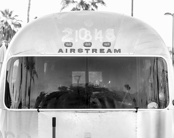 Airstream Trailer Art Print, Grey Wall Art, California, Airstream Decor, Black and White Photography, Retro Vintage Camper, Camping Wall Art