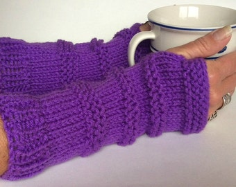 Purple Fingerless Gloves, Knit Wristwarmers, Knit Texting Gloves, Purple Knit Gloves, Purple Wristwarmers, Texting Gloves, Knit Mittens