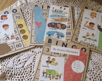 Set of Four Sweet Altered Vintage Bingo Cards Gift or Display PICTURE DICTIONARY
