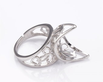 1pc Adjustable 925 Sterling Silver Ring Blank (JT013)