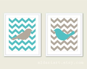 Birds Chevron Wall Art  - Art Prints Wedding Couples Gift - Master Bedroom Decor - Teal Turquoise Taupe - His and hers