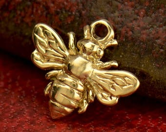 Solid 14K Gold, Honeybee Charm, Bumblebee Charm, Bee Charm, Gold Bee Charm, Bee Lover Charm, Bee Keeper, Bee Jewelry, Bee Pendant