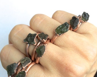 Moldavite ring | Raw moldavite stacking ring | Rare green moldavite raw mineral ring | Raw moldavite jewelry | Raw crystal jewelry |