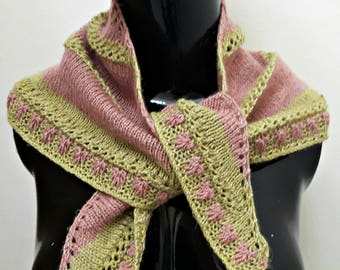 Raspberries and Lime Bandana Style Hand Knit Shawlette in Linen and Wool Blend