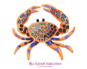 Preppy Crab clip art - Original Art download, orange and navy crab, whimsical crab clip art, preppy clip art