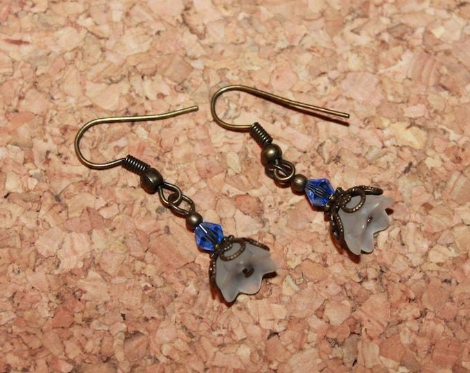Blue Glass Crystal Earrings, Dangle Earrings, Hook Earrings, Bell Art Designs 55