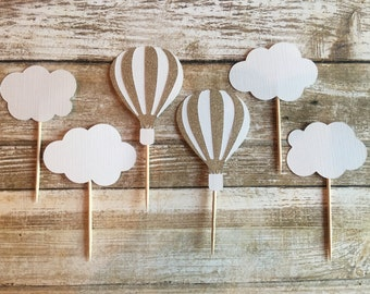 24 Up Up and Away Cupcake Toppers