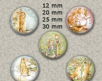 80% off Mothers Day Sale 12 mm, 20mm, 30 mm, 25 mm 1 inch Peter Rabbit Easter Digital Collage sheet Bottle Cap Bottlecap Round Circle Images