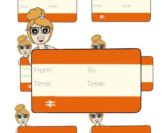 Digital Download - Train Girl stickers - Maggie