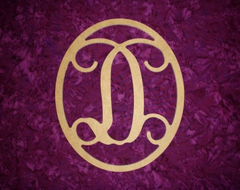 """Monogram Letter D Wood Cut Out Unfinished Wooden MDF Paintable Letters 12"""" Tall"""