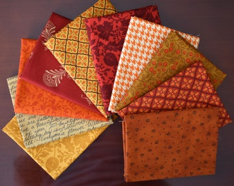 Fat Quarter Bundle of 10 From Various Moda Fall Collections