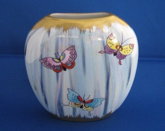 Hand painted porcelain lustre and gold butterfly vase, birthday/anniversary gift.