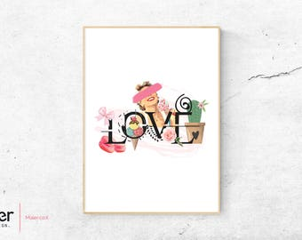 Love retro poster