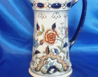 "Vintage S.J.B. Pottery Jug/Pitcher made in England  ""Flowers"""