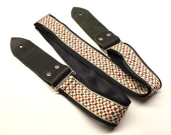 Woven Guitar Strap, Black, Red, White, Pattern, Seat Belt, Guitar Strap, Embroidered Strap, Design, Acoustic Strap, Guitar, Bass Guitar